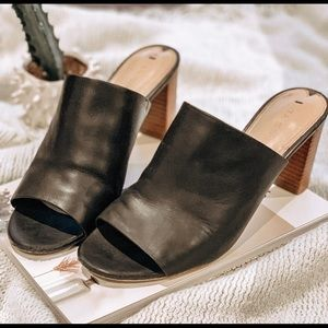 Genuine Leather Chunky Open-Toe Mules